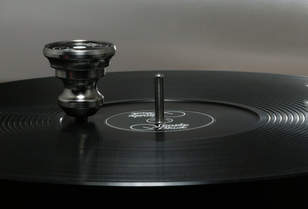 New platter: machined with a scroll to give better surface contact with records